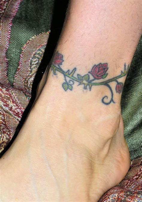 red roses with thorns ankle bracelet tattoo tattooimages biz