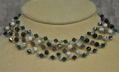 Choker Ring Tie Cinnamon choker woven gemstone and crystals rustic