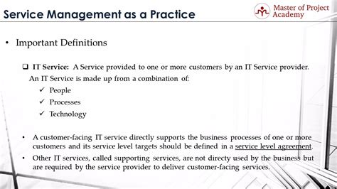 Mba Service Management Meaning by Master Of Project Itil Definitions 1 Service It