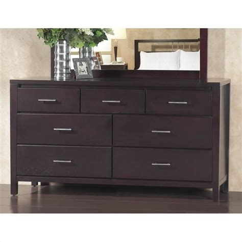Bedroom Dressers With Mirror modus nevis 7 drawer double dresser in espresso nv2382