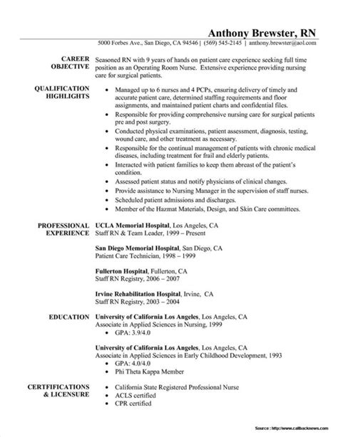 Sle Resumes For Registered Nurses by Exles Of Registered Resumes 28 Images 13 New Graduate Nursing Resume Sle Resumes Nursing