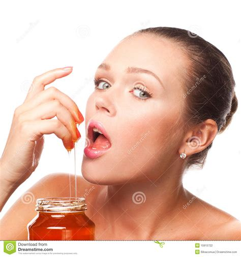 young girl honey pot woman with honey stock photography image 15915722