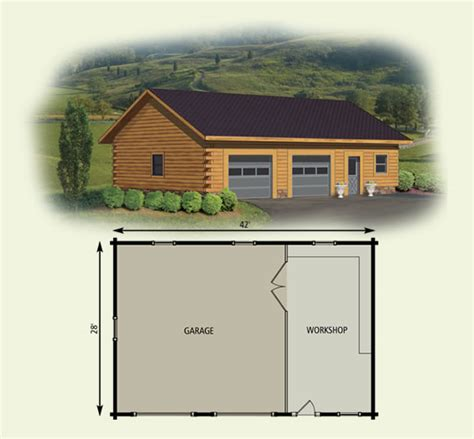 cabin floor plans with garage log home garage workshop
