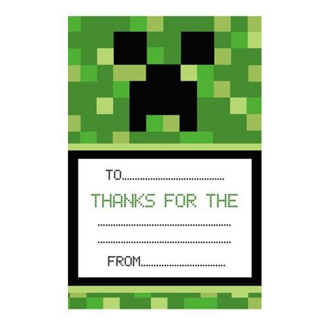 Minecraft Thank You Card Template by Minecraft Inspired Thank You Notes Minecrafts
