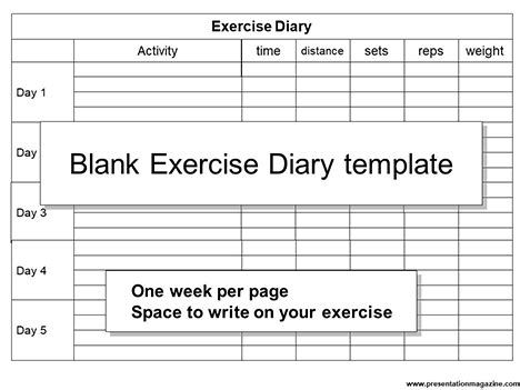 food and exercise diary template blank exercise diary