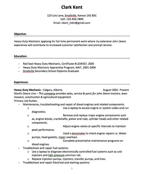 Duty Resume Objective Heavy Duty Mechanic Resume Exles Resumes Design