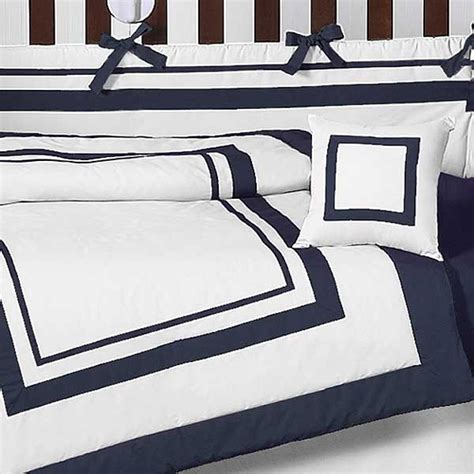Hotel White Navy Blue Baby Bedding Set By Sweet Jojo Navy Blue And White Crib Bedding Set