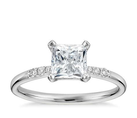 1 carat preset princess cut engagement ring