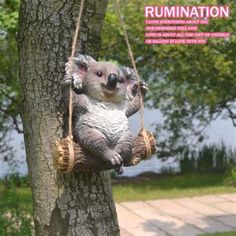bear swing creative resin swing koala bear figurine crafts garden