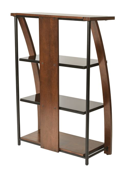 glass shelves bookcase emette bookcase with two glass shelves and cherry finish ergoback