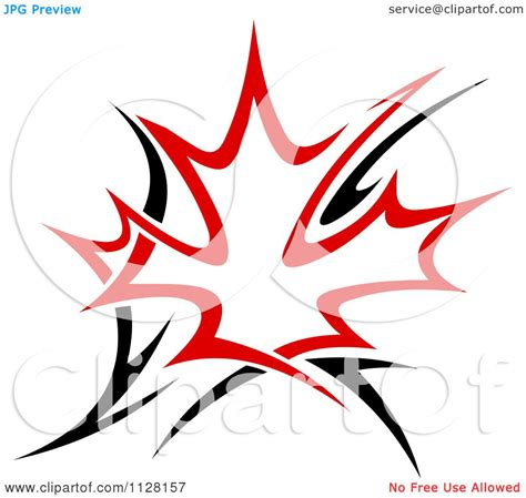 clipart of a black and red tribal maple leaf 5 royalty