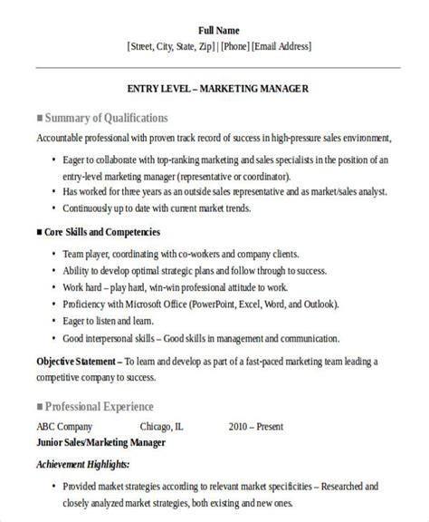 entry level marketing resume sles 30 sales resume design templates pdf doc free