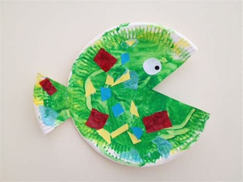 Paper Crafts For Preschoolers - hungry paper plate fish my kid craft