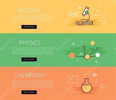 biology physics chemistry vector banners template set