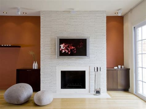 contemporary stacked stone fireplace home interior design