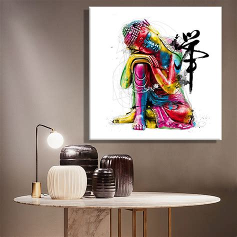 Where To Buy Paintings For Home Decoration Aliexpress Buy Paintings Canvas Colorful Buddha Sitting Wall Decoration Painting