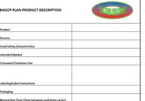 haccp plan template haccp plan form templates usa food solutions