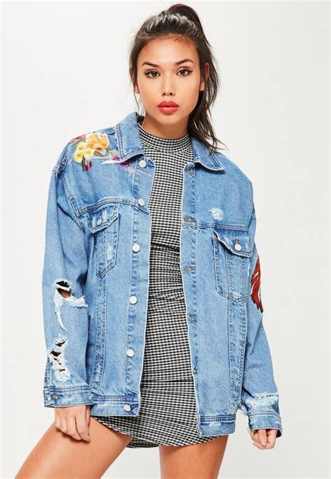 Blue Oversized Denim Jacket 1 blue embroidered oversized denim jacket missguided australia