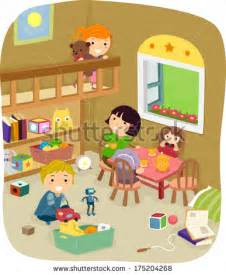 play in the bedroom illustration of a group of kids playing in the play room stock vector