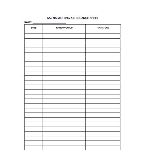 meeting attendance template aa attendance card pictures to pin on pinsdaddy