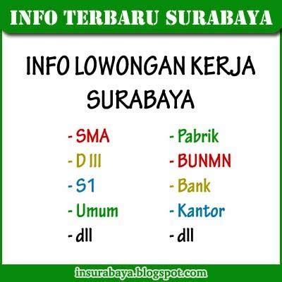 Lowongan Surabaya lowongan kerja surabaya info surabaya