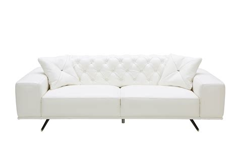 white leather sofa divani casa bartlett modern white leather sofa