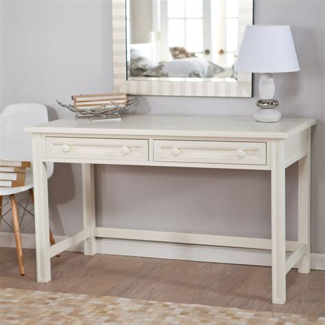 white wooden make up table and white leather
