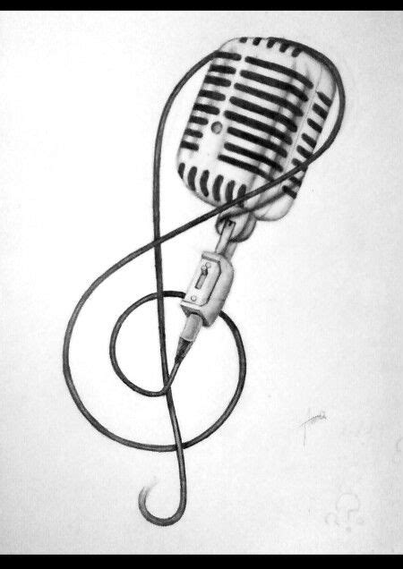 microphone tattoo sketch music note and microphone tattoo sketch tattoos bands