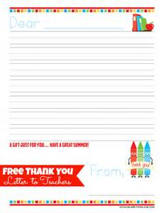 Thank You Letter To Teacher At The End Of Year Free Teacher Thank You Letter Gift Idea Giggles Galore