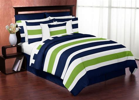 navy blue lime green white stripes full queen kid teen boy