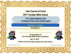vacation bible school certificate