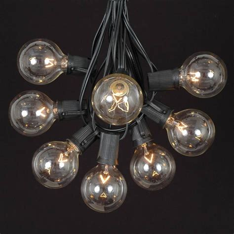 clear satin g50 globe outdoor string light set on black
