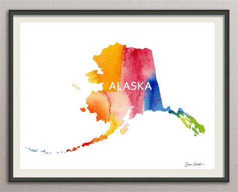 state wall art printable alaska usa state map 8x10 art print poster watercolor