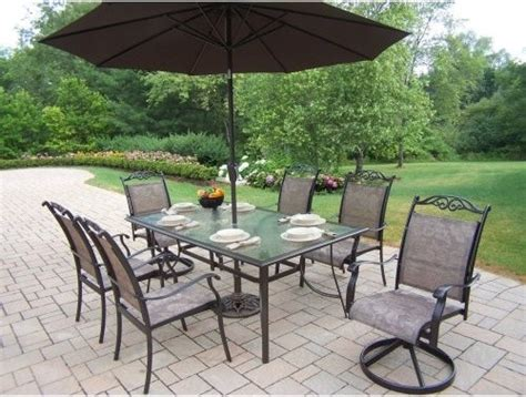 patio furniture set oakland living cascade patio dining set with umbrella and