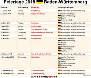 Kalender 2018 Mit Feiertagen Bw Feiertage Baden W 252 Rttemberg 2017 2018 2019