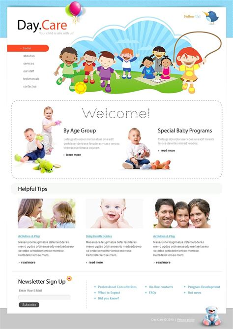 Day Care Website Template 28940 Daycare Website Templates Free