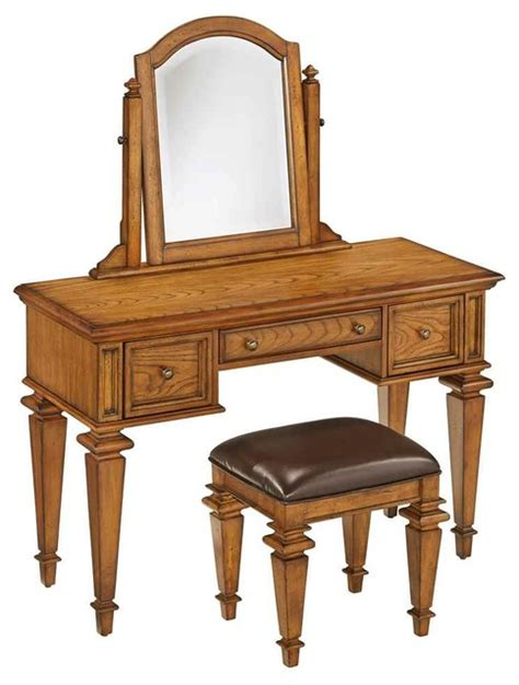 Bedroom Vanity Bedroom Vanity Set In Distress Oak Finish Traditional