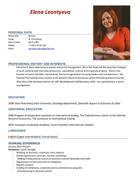 Resume Samples Project Coordinator by Cv And Portfolio Event Manager Elena Leontyeva