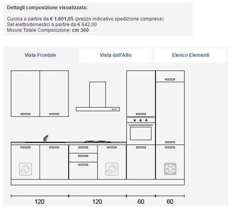 dimensioni cucina standard misure standard cucina componibile