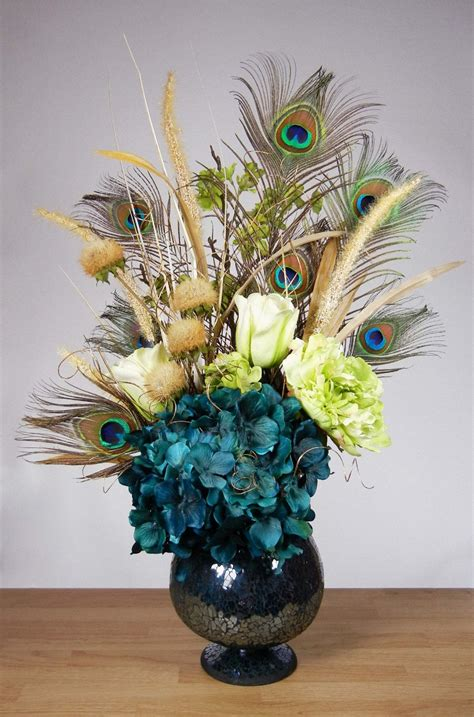 Teal Blue And Green Peacock Feather Hydrangea Floral Centerpieces With Feathers And Flowers