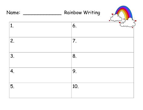 rainbow writing spelling words template grade 1