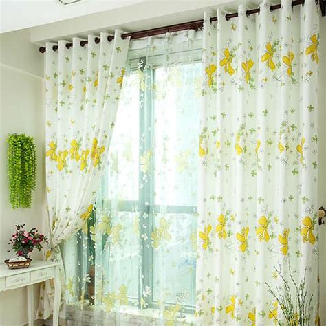 yellow floral curtains white floral curtains modern white floral print peva