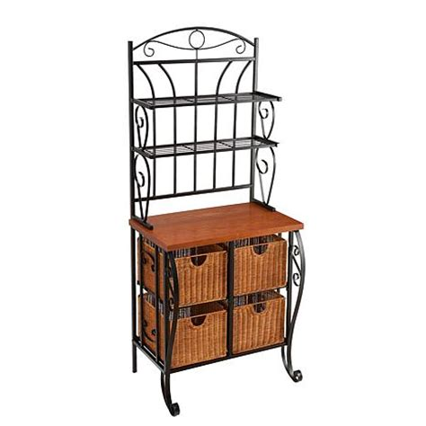 iron wicker bakers rack home pantry kitchen furniture ryde iron and wicker baker s rack 7303575 hsn