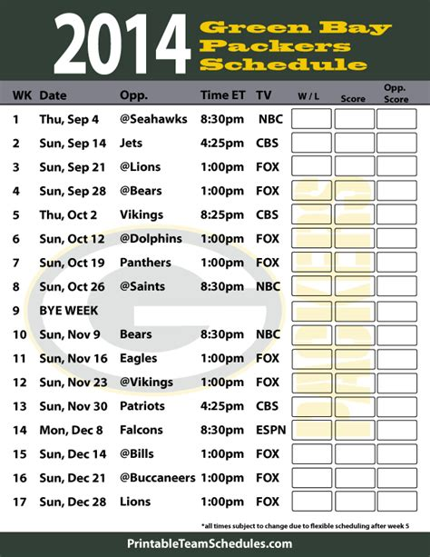printable packers schedule green bay packers 2014 schedule green and gold the
