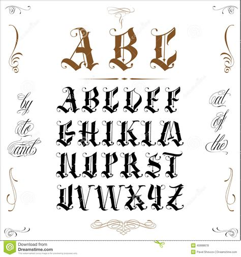 tattoo old english stock vector image 40688878
