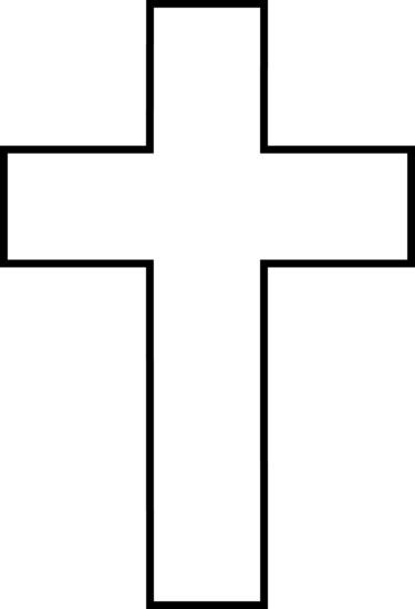 Cross Outline by Black And White Cross Free Clip