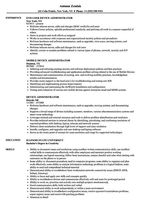 device administrator resume sles velvet