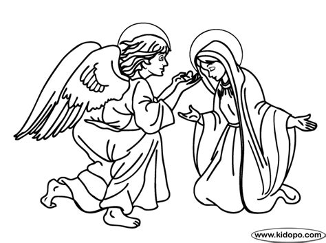 angel gabriel appears to mary coloring page