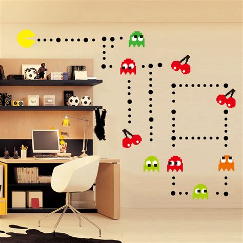 pac wall stickers pac wall sticker pacman pac pixels removable peel n decal classic arcade diy mural