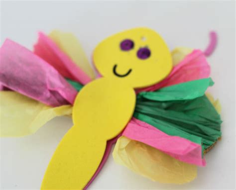 Tissue Paper Butterfly Craft - tissue paper butterfly craft in the playroom